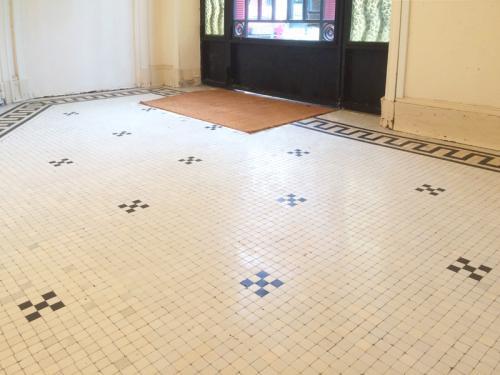 Mosaïque de grès cérame à Neuilly sur Seine en Ile-de-France après réfection. Les tesselles manquantes ont été remplacées et le hall a été traité par micro-ponçage et cristallisation pour une finition satinée légèrement brillante.