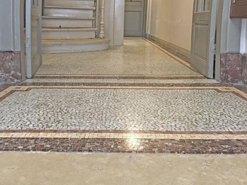 Mosaïque de marbre à Paris 13e après rénovation et cristallisation