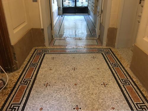 Mosaïque de marbre à Paris 5e après rénovation